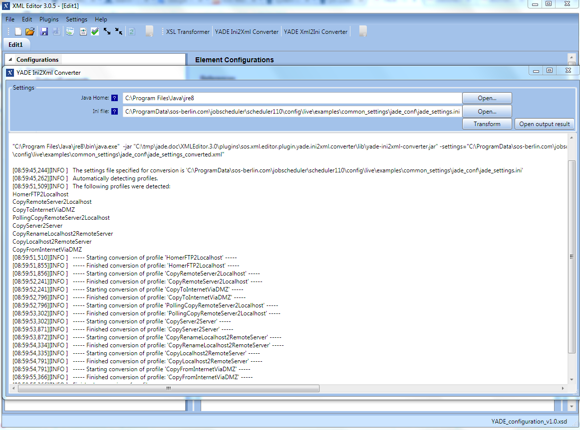 YADE - Configuration - Migration from  ini settings files to