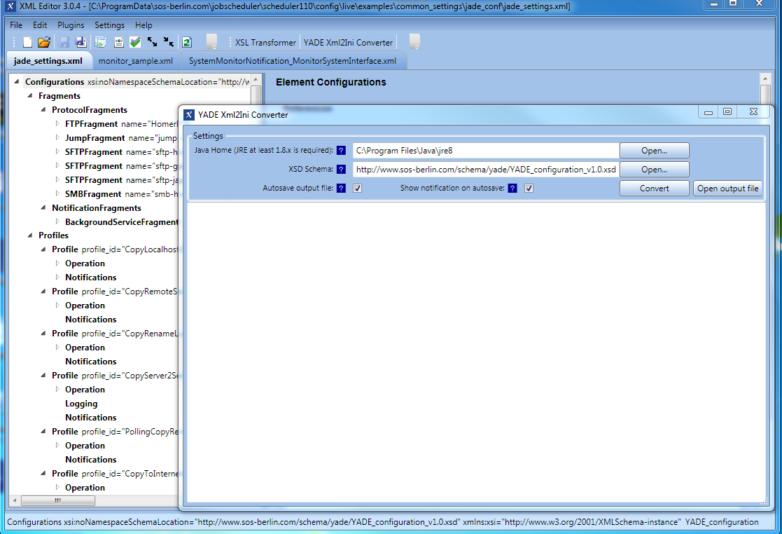 YADE - Configuration - Migration from  ini settings files to XML