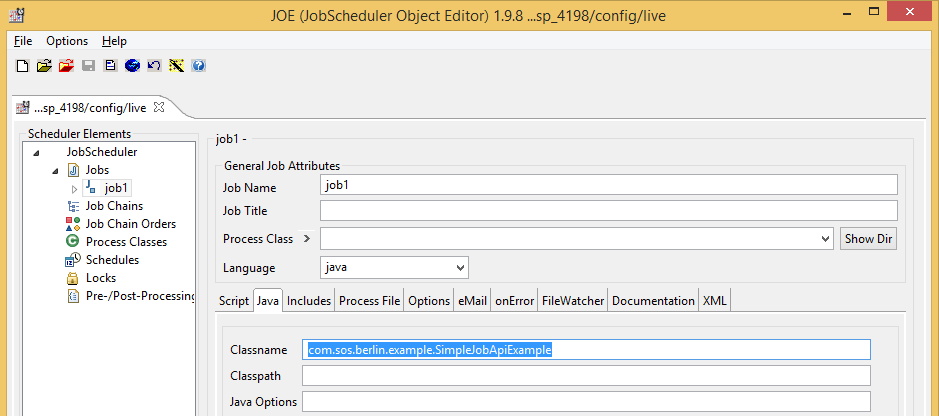 How to integrate the JobScheduler  jar archive for API Jobs (engine