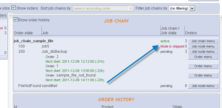 How to skip nodes in a job chain and stop and temporarily