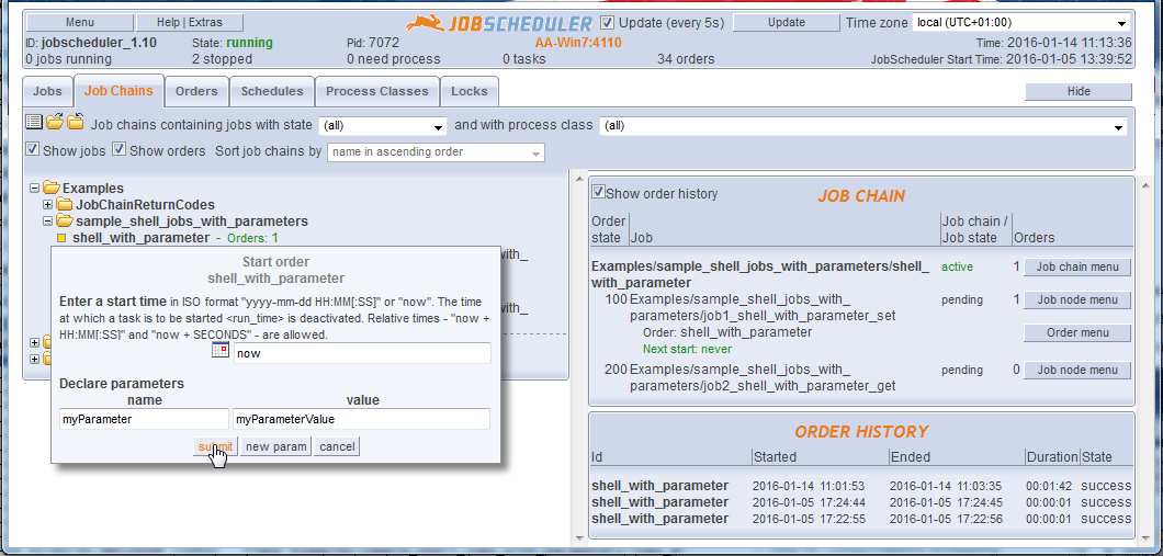 How to set and read job and order parameters - Product