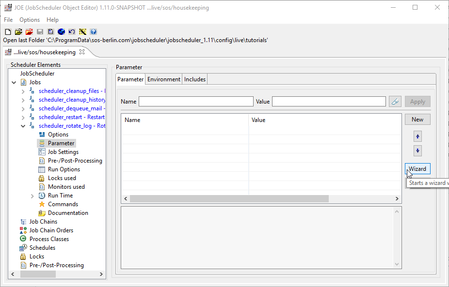select the parameter element which will open the parameter form at the parameter tab as shown in the screen shot below